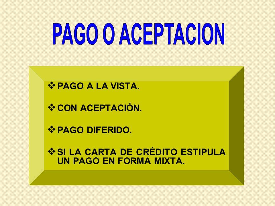 PAGO O ACEPTACION PAGO A LA VISTA. CON ACEPTACIÓN. PAGO DIFERIDO.