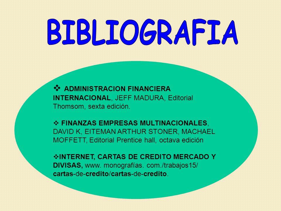 BIBLIOGRAFIA ADMINISTRACION FINANCIERA INTERNACIONAL, JEFF MADURA, Editorial Thomsom, sexta edición.