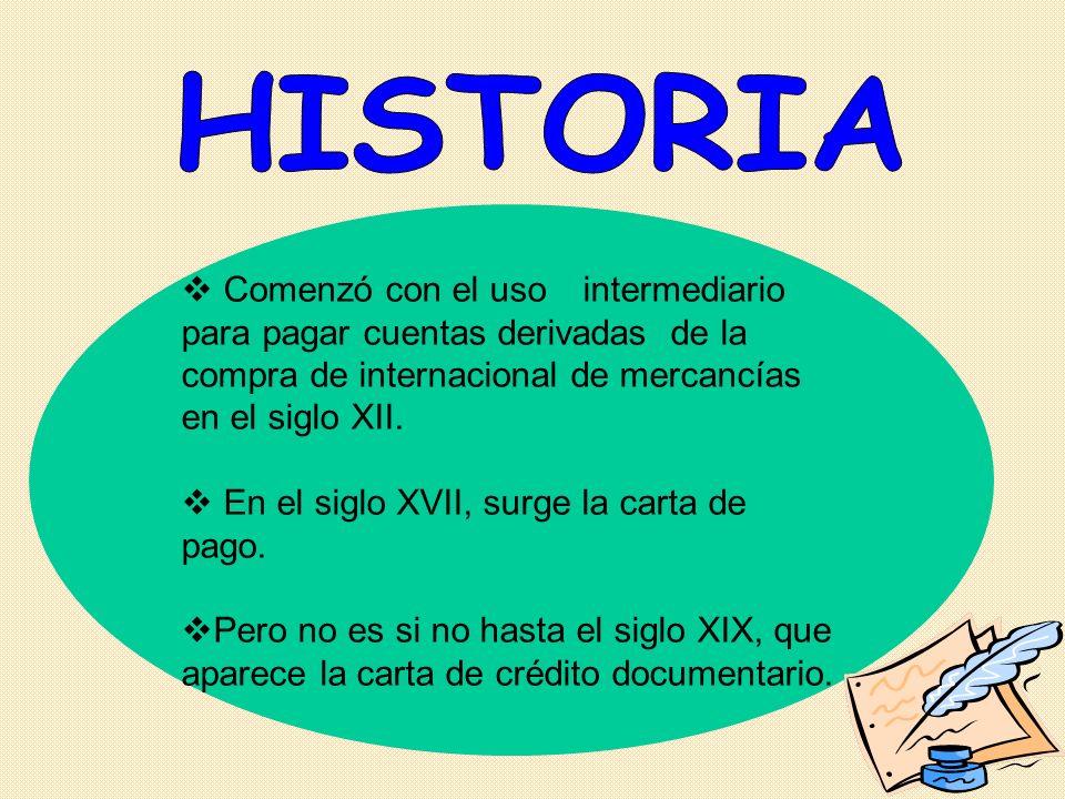 HISTORIA Comenzó con el uso intermediario para pagar cuentas derivadas de la compra de internacional de mercancías en el siglo XII.