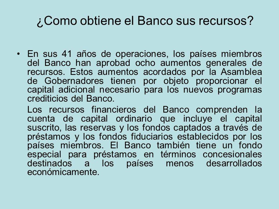 ¿Como obtiene el Banco sus recursos