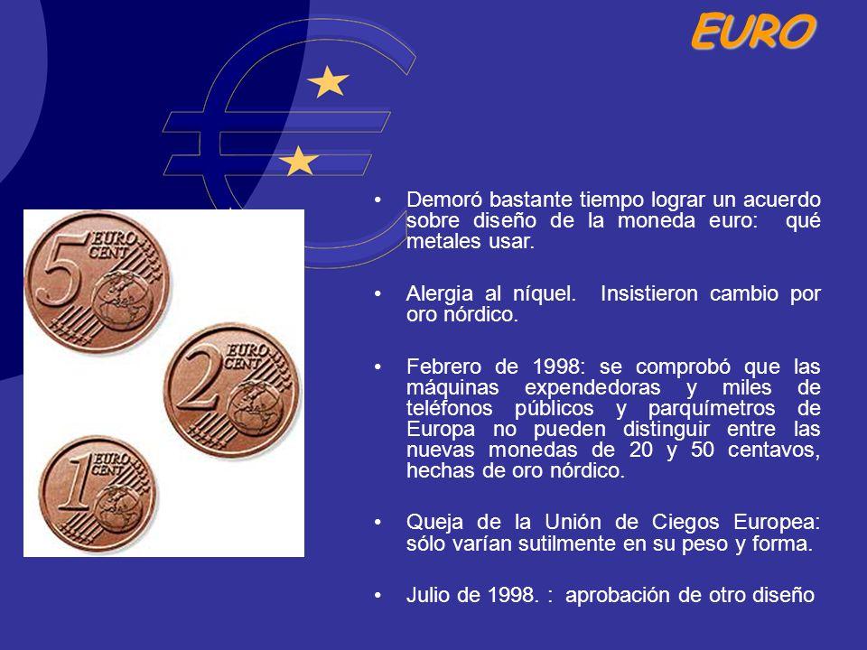 Demoró bastante tiempo lograr un acuerdo sobre diseño de la moneda euro: qué metales usar.