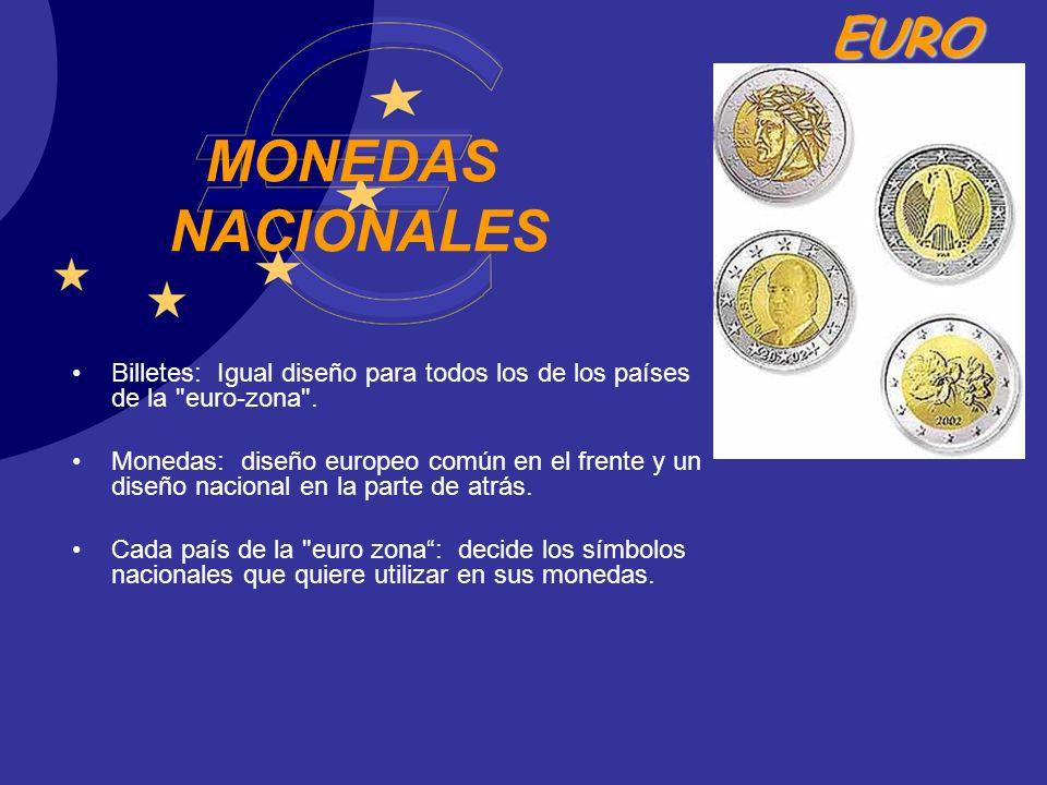 MONEDAS NACIONALES Billetes: Igual diseño para todos los de los países de la euro-zona .