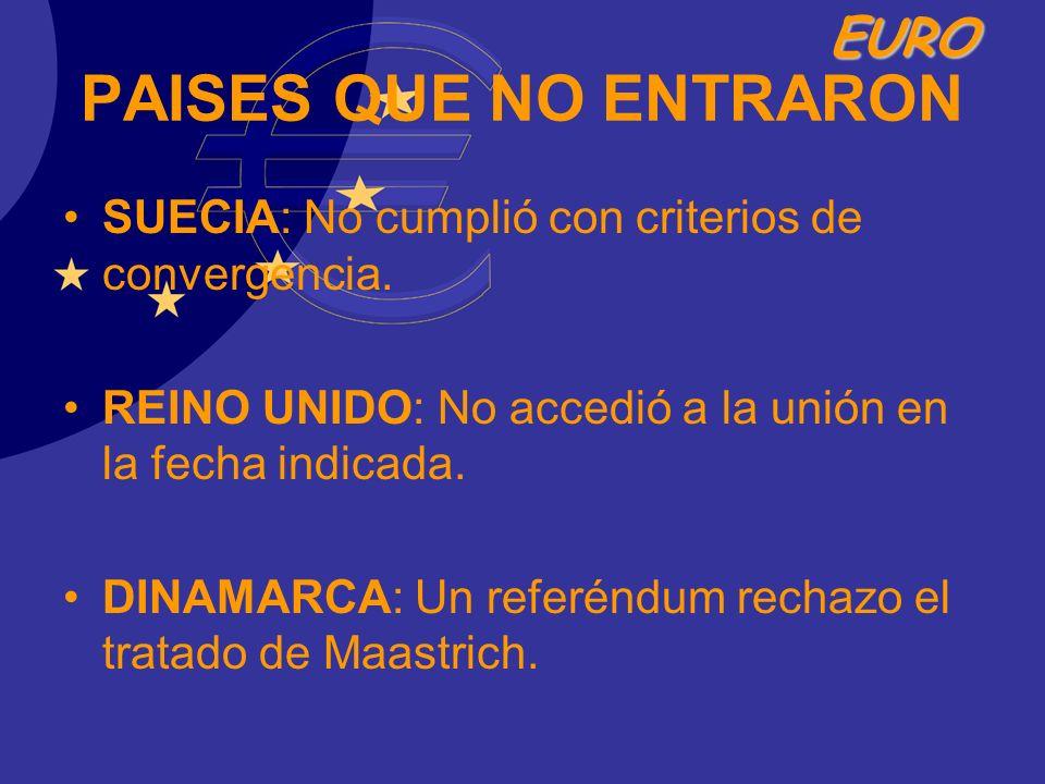 PAISES QUE NO ENTRARON SUECIA: No cumplió con criterios de convergencia. REINO UNIDO: No accedió a la unión en la fecha indicada.