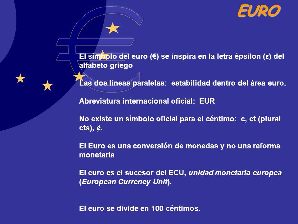 El símbolo del euro (€) se inspira en la letra épsilon (ε) del alfabeto griego Las dos líneas paralelas: estabilidad dentro del área euro.