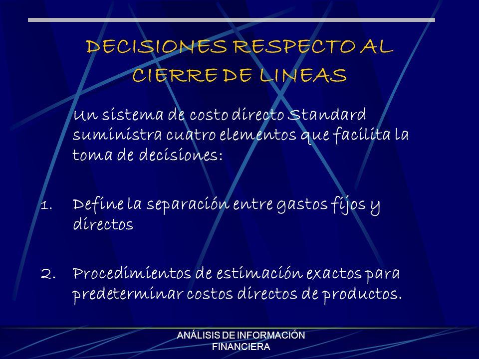 DECISIONES RESPECTO AL CIERRE DE LINEAS