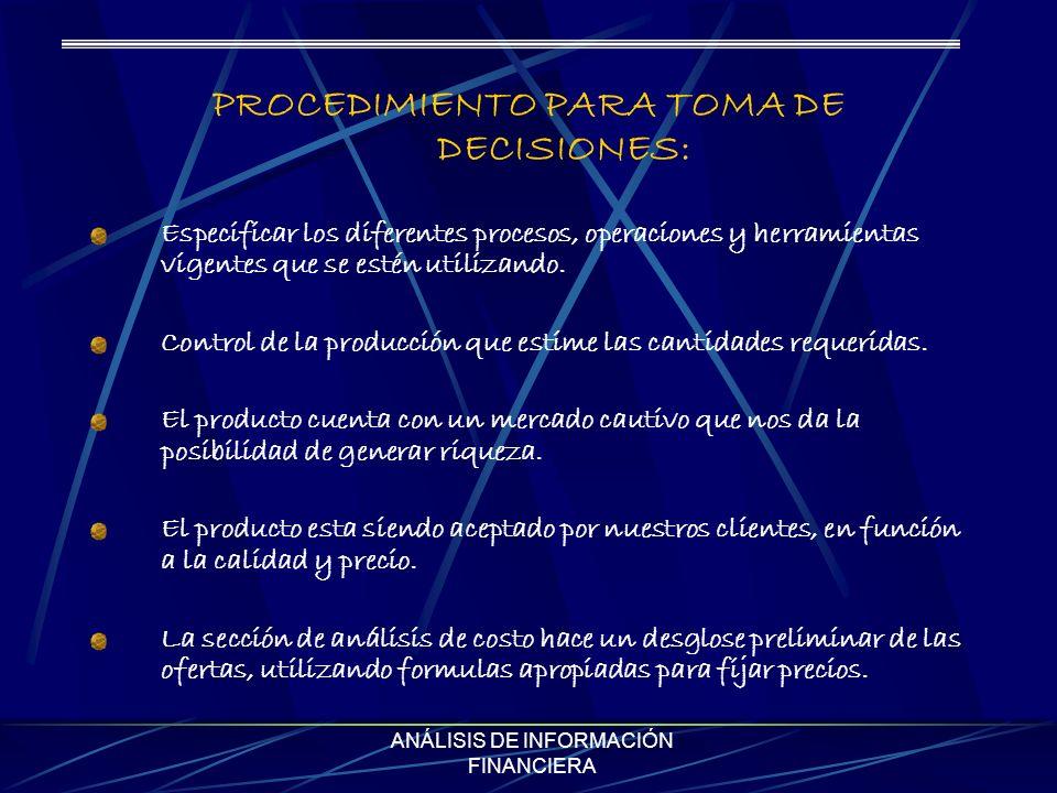 PROCEDIMIENTO PARA TOMA DE DECISIONES: