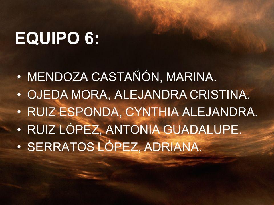 EQUIPO 6: MENDOZA CASTAÑÓN, MARINA. OJEDA MORA, ALEJANDRA CRISTINA.