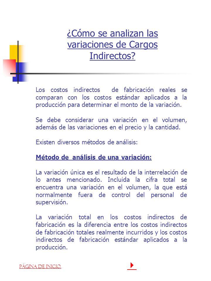 ¿Cómo se analizan las variaciones de Cargos Indirectos