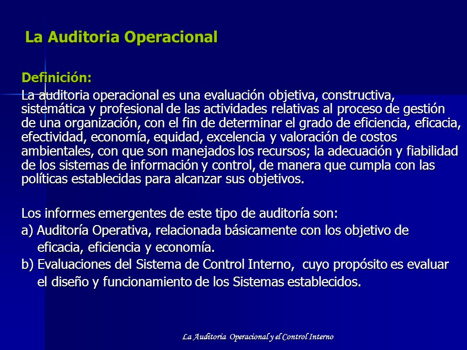 La Auditoria Operacional
