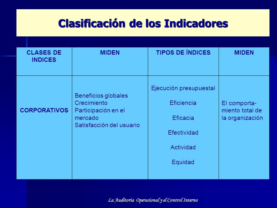 Clasificación de los Indicadores