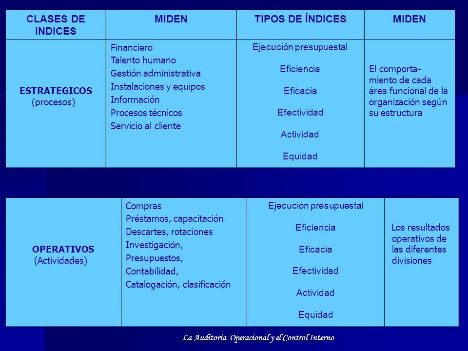 CLASES DE INDICES MIDEN TIPOS DE ÍNDICES ESTRATEGICOS (procesos)