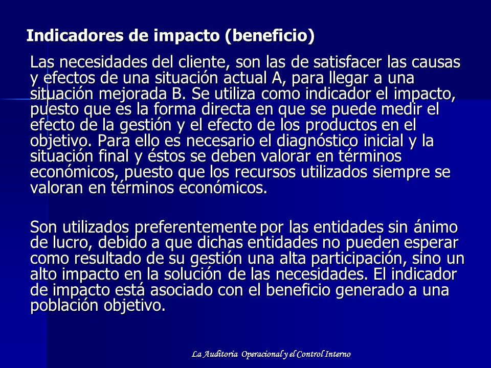 Indicadores de impacto (beneficio)