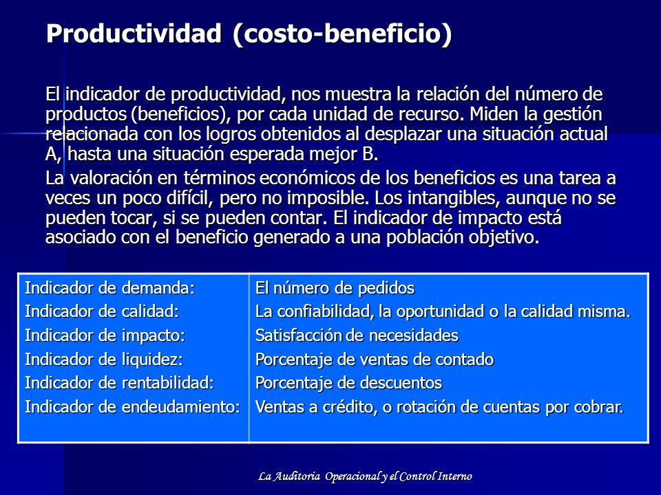 Productividad (costo-beneficio)