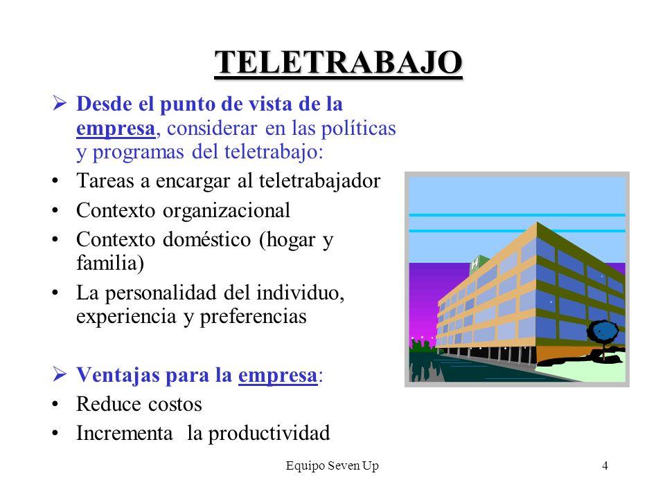 TELETRABAJO Desde el punto de vista de la empresa, considerar en las políticas y programas del teletrabajo: