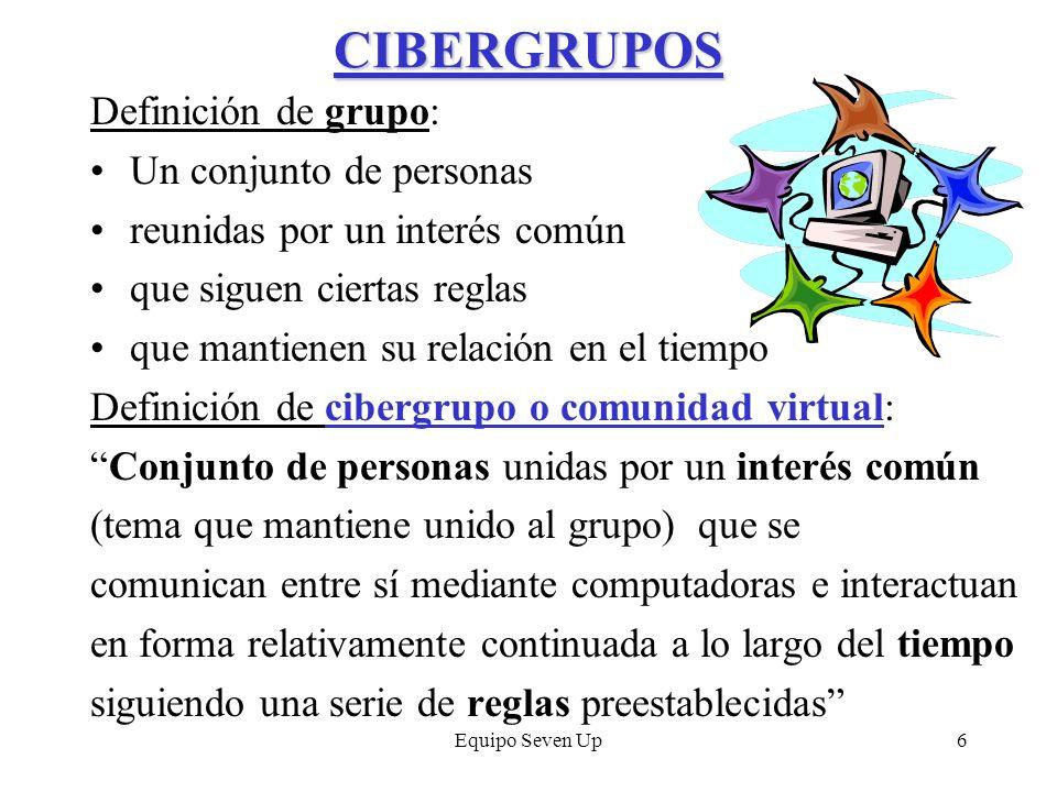 CIBERGRUPOS Definición de grupo: Un conjunto de personas