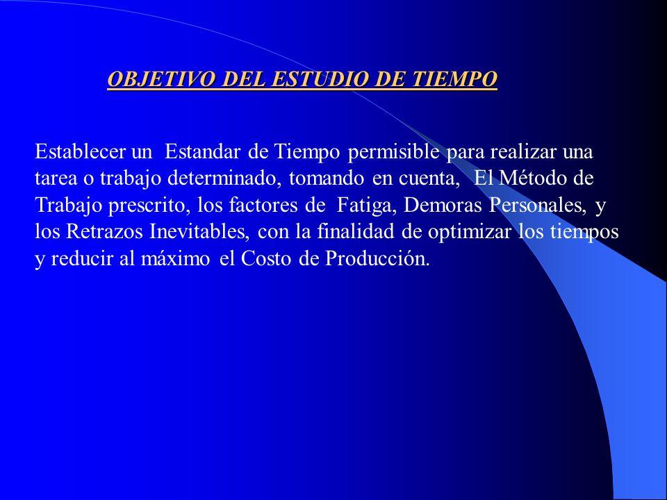 OBJETIVO DEL ESTUDIO DE TIEMPO