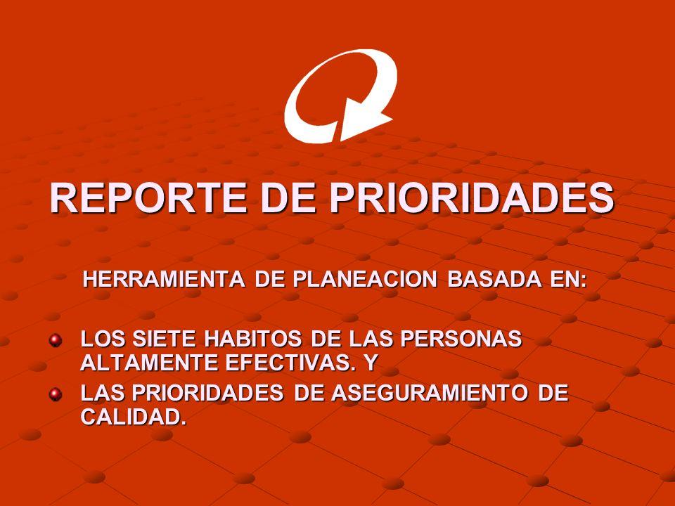 REPORTE DE PRIORIDADES