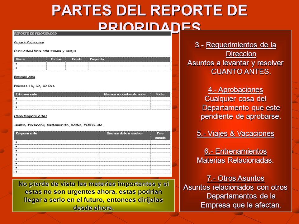 PARTES DEL REPORTE DE PRIORIDADES