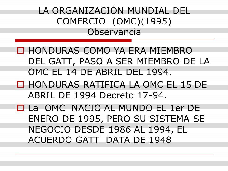 LA ORGANIZACIÓN MUNDIAL DEL COMERCIO (OMC)(1995) Observancia