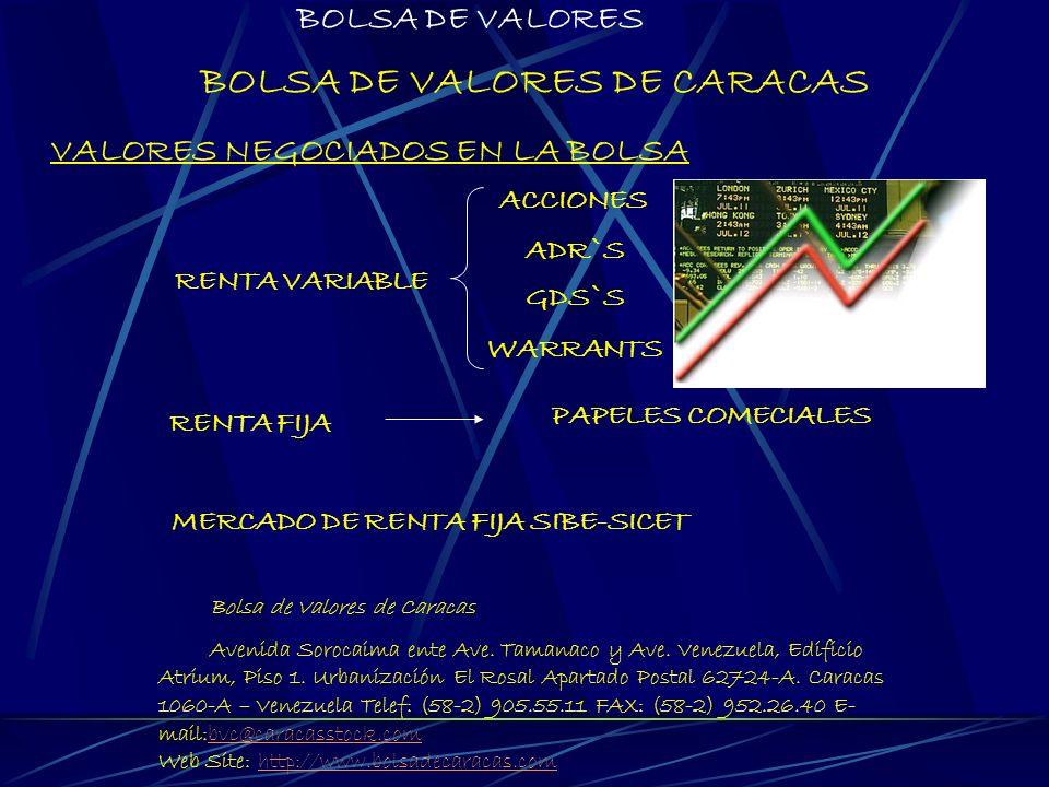 BOLSA DE VALORES DE CARACAS VALORES NEGOCIADOS EN LA BOLSA