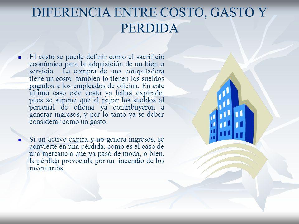 DIFERENCIA ENTRE COSTO, GASTO Y PERDIDA
