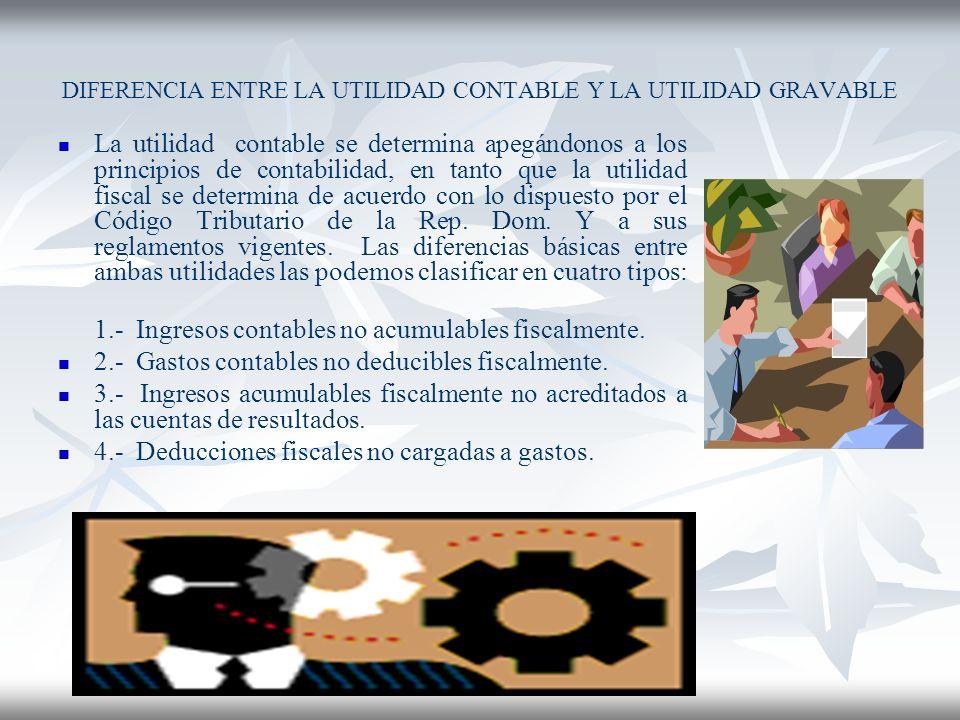 DIFERENCIA ENTRE LA UTILIDAD CONTABLE Y LA UTILIDAD GRAVABLE