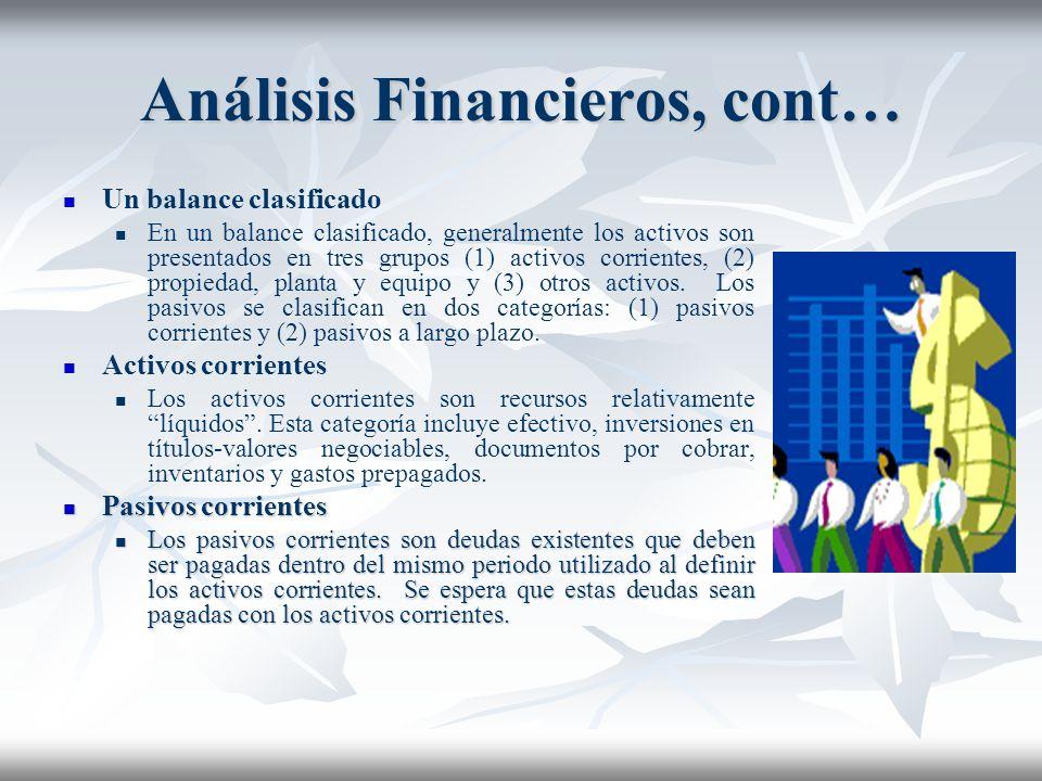 Análisis Financieros, cont…