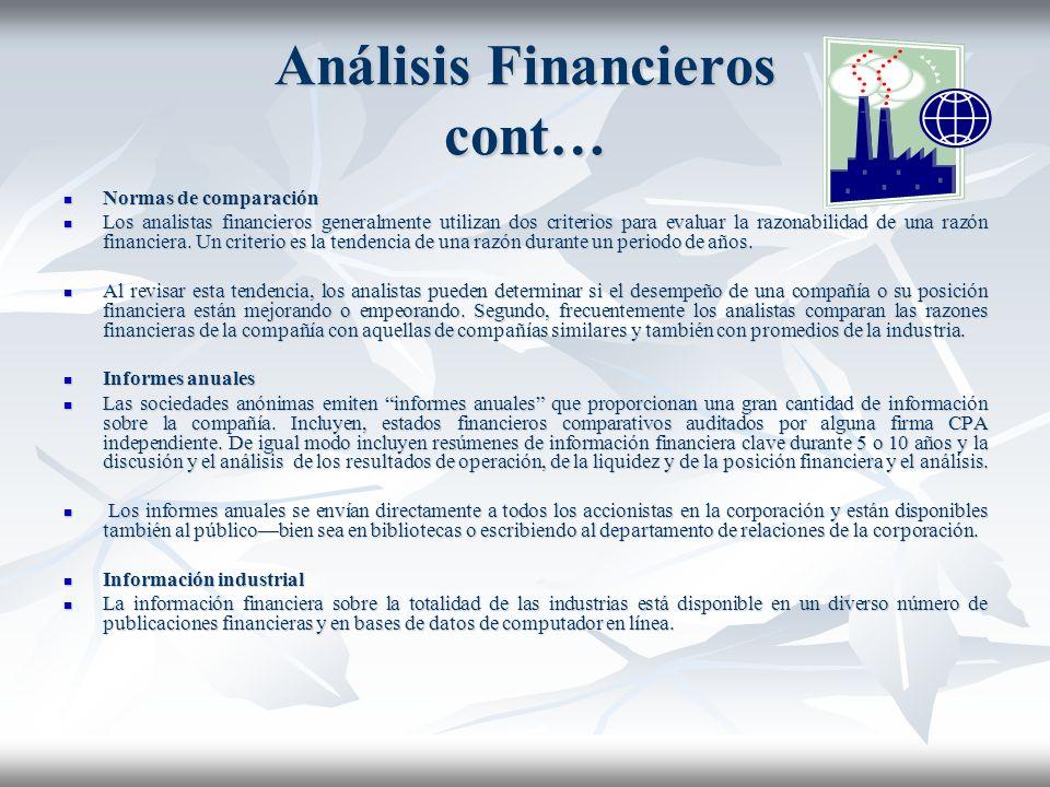 Análisis Financieros cont…