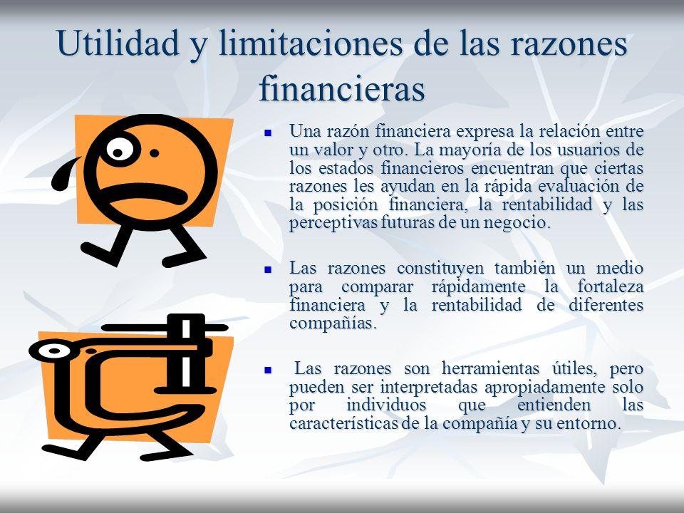 Utilidad y limitaciones de las razones financieras