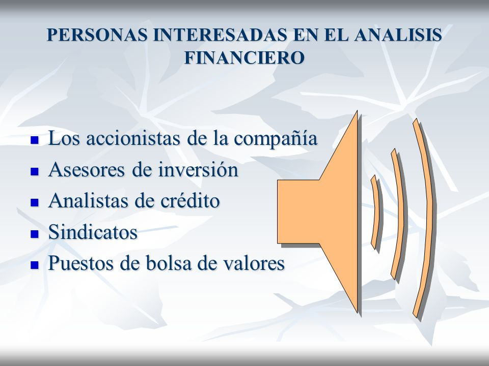 PERSONAS INTERESADAS EN EL ANALISIS FINANCIERO