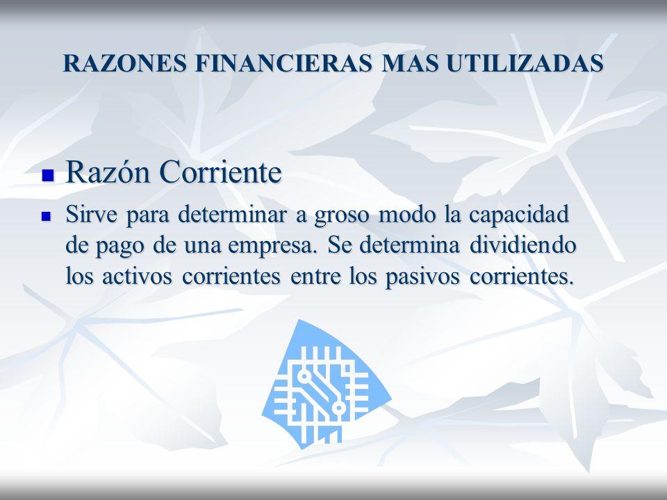 RAZONES FINANCIERAS MAS UTILIZADAS