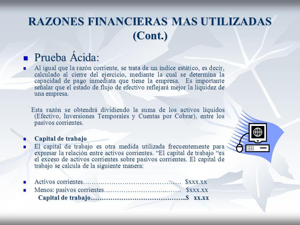 RAZONES FINANCIERAS MAS UTILIZADAS (Cont.)