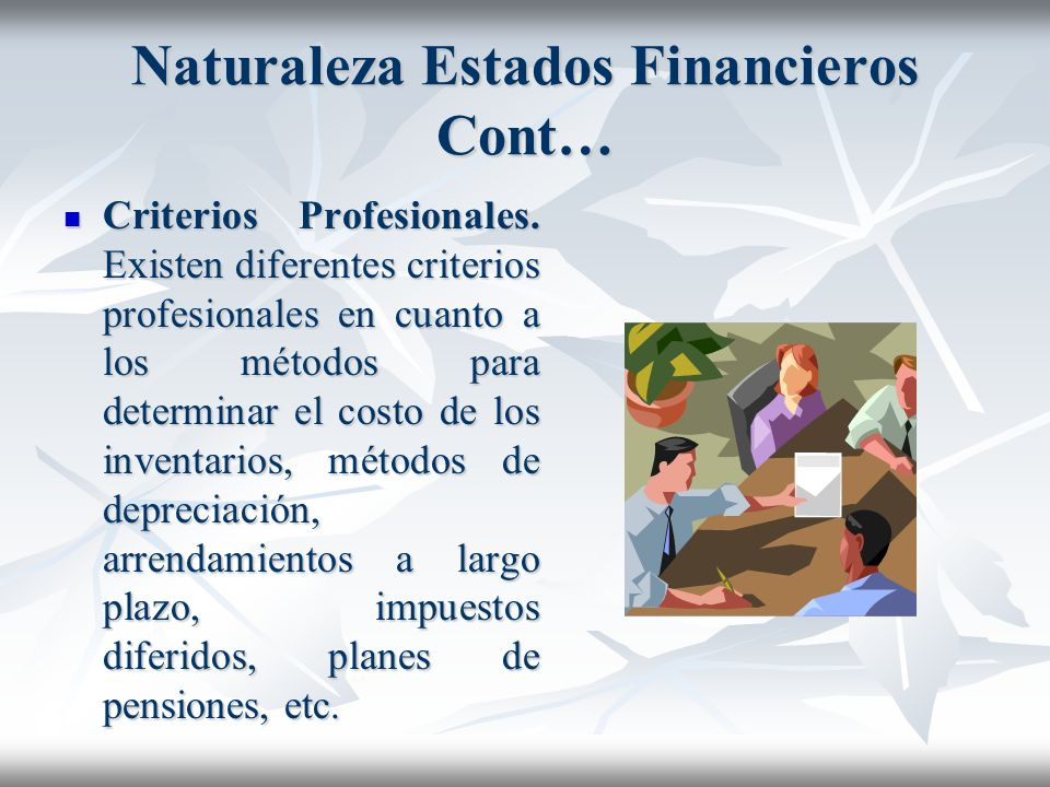 Naturaleza Estados Financieros Cont…