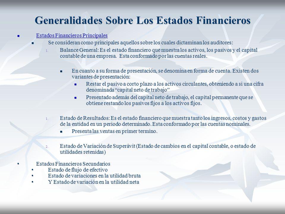 Generalidades Sobre Los Estados Financieros