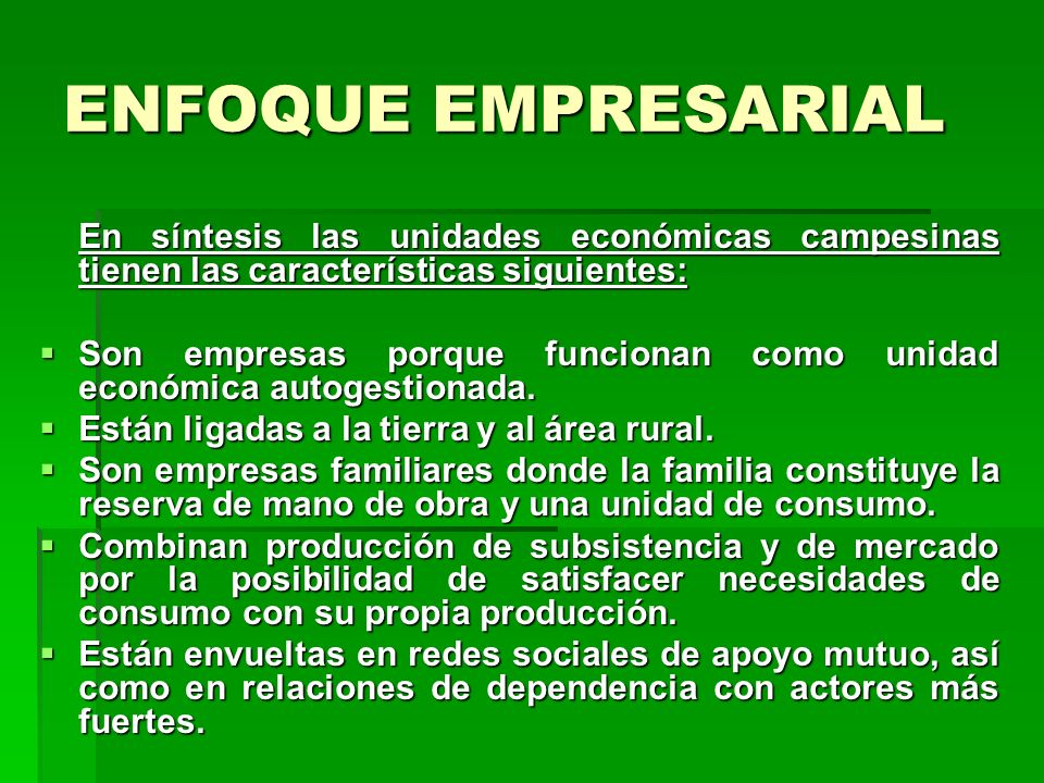 ENFOQUE EMPRESARIAL En síntesis las unidades económicas campesinas tienen las características siguientes: