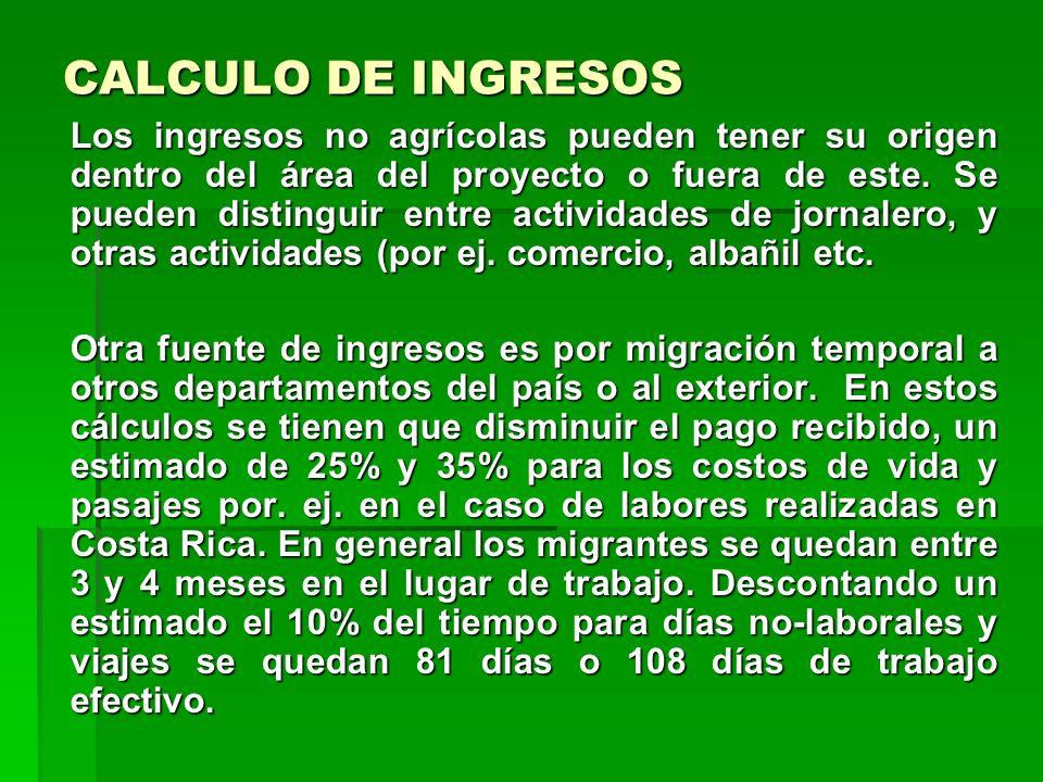CALCULO DE INGRESOS
