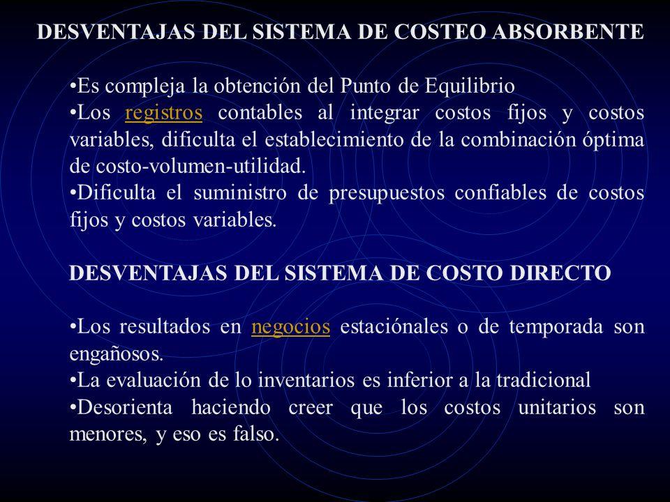 DESVENTAJAS DEL SISTEMA DE COSTEO ABSORBENTE