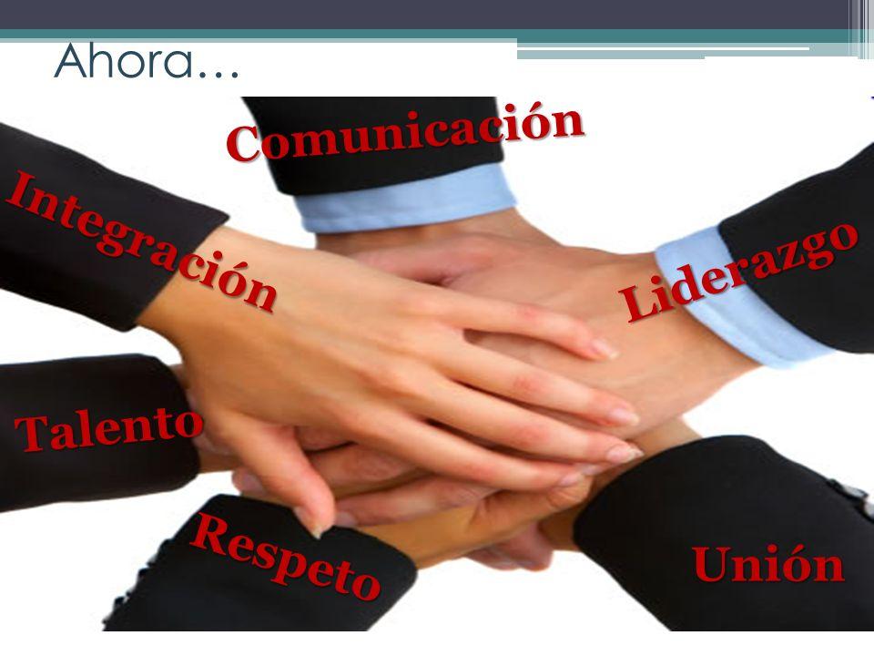 Ahora… Comunicación Integración Liderazgo Talento Respeto Unión