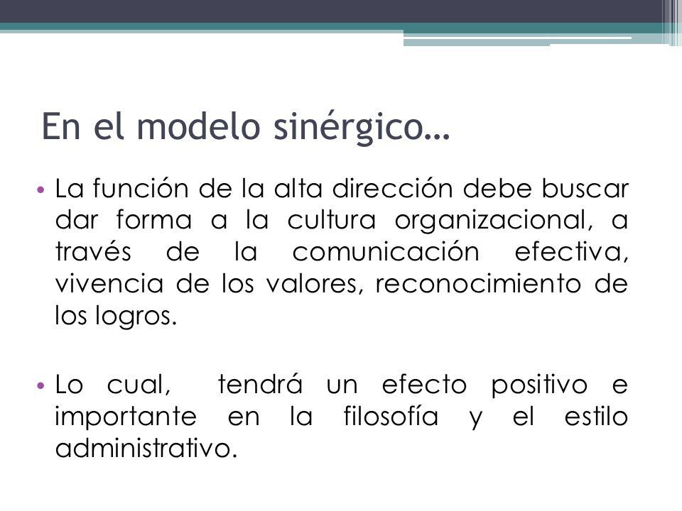 En el modelo sinérgico…