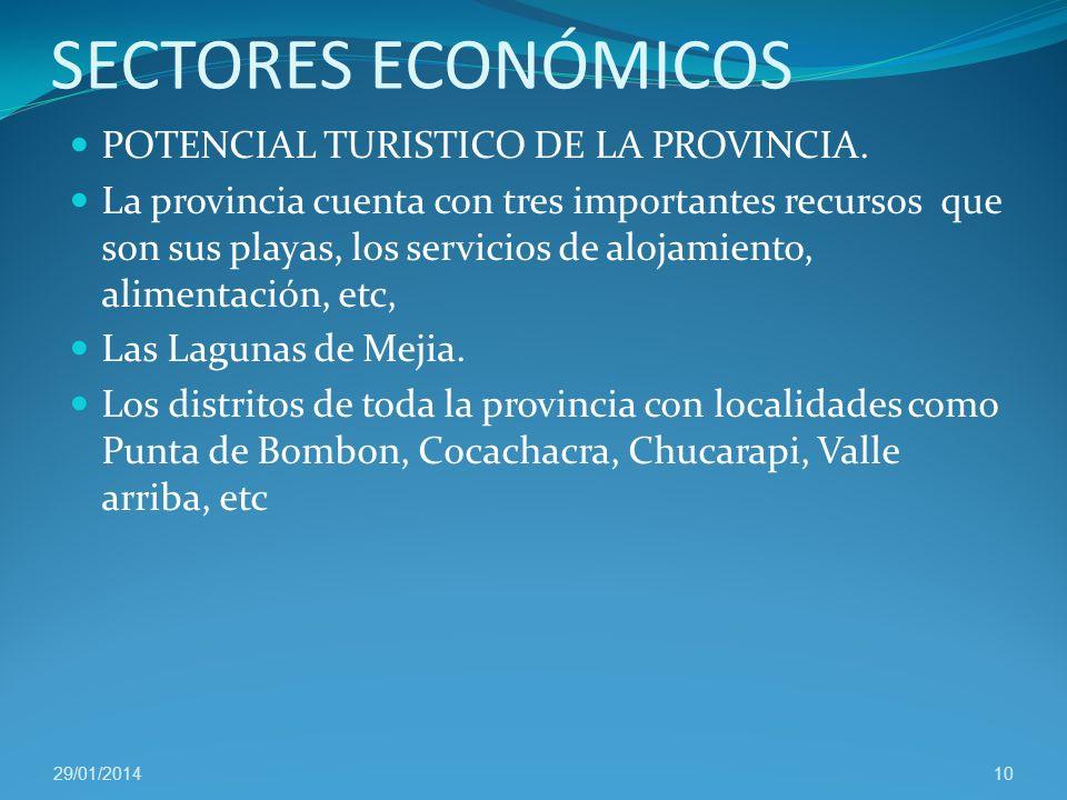 SECTORES ECONÓMICOS POTENCIAL TURISTICO DE LA PROVINCIA.