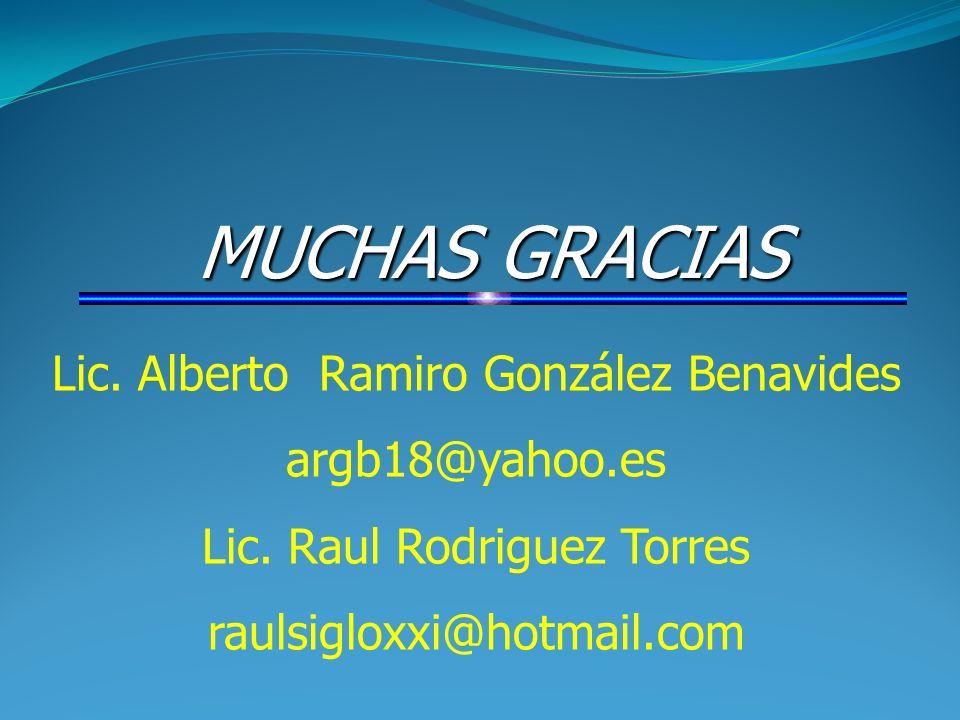 MUCHAS GRACIAS Lic. Alberto Ramiro González Benavides argb18@yahoo.es