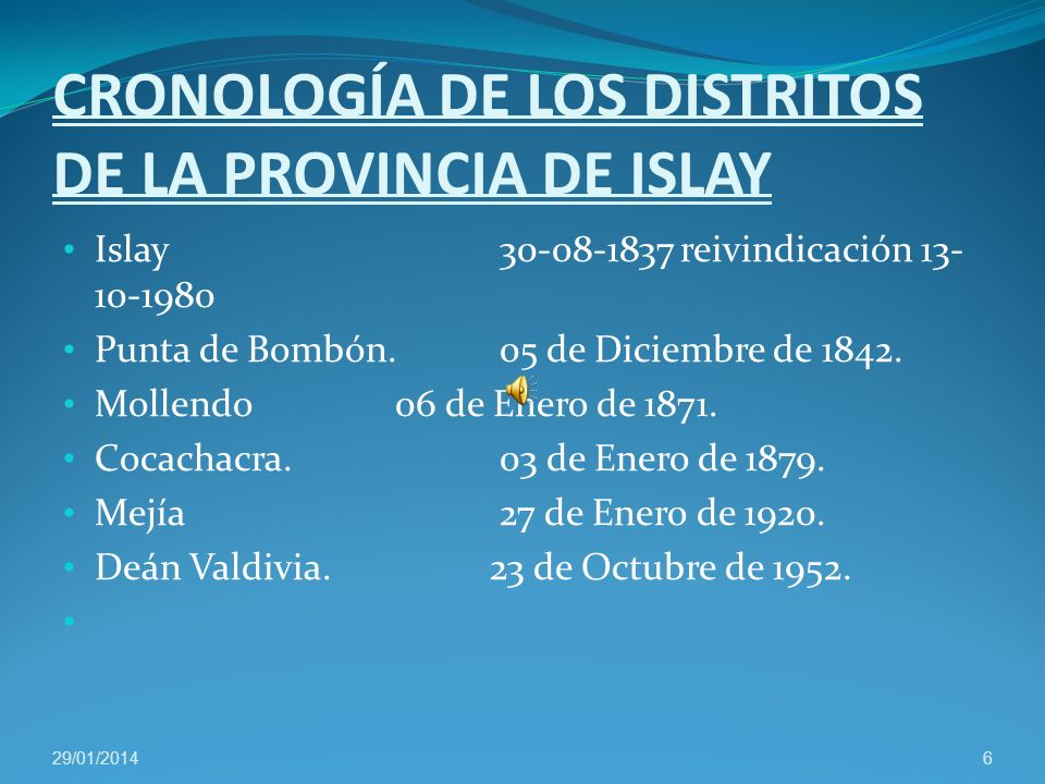 CRONOLOGÍA DE LOS DISTRITOS DE LA PROVINCIA DE ISLAY