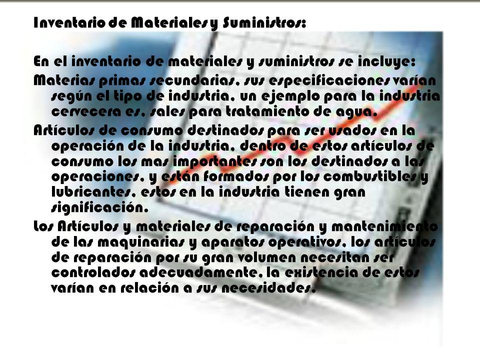 Inventario de Materiales y Suministros: