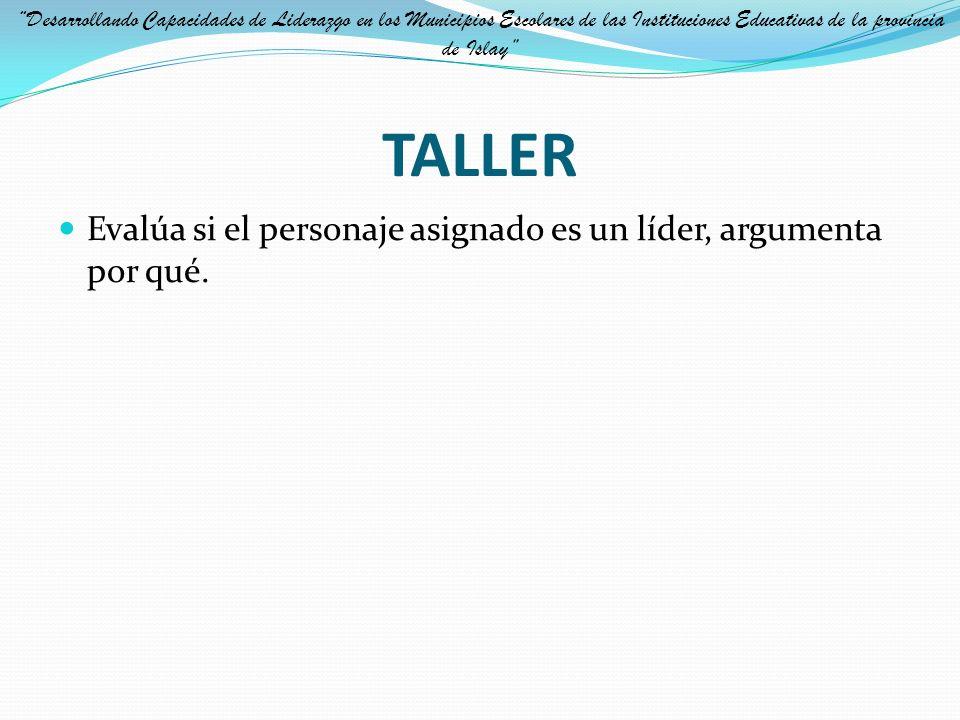 TALLER Evalúa si el personaje asignado es un líder, argumenta por qué.