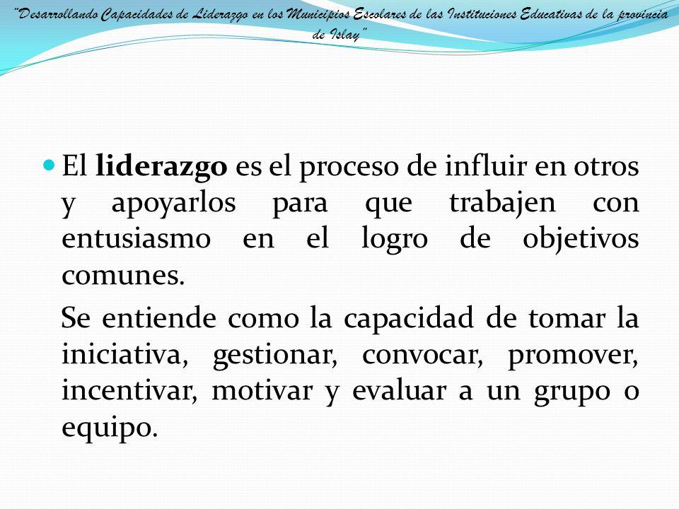 Desarrollando Capacidades de Liderazgo en los Municipios Escolares de las Instituciones Educativas de la provincia de Islay
