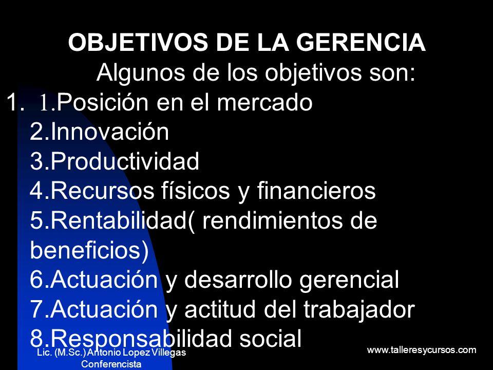 OBJETIVOS DE LA GERENCIA Algunos de los objetivos son:
