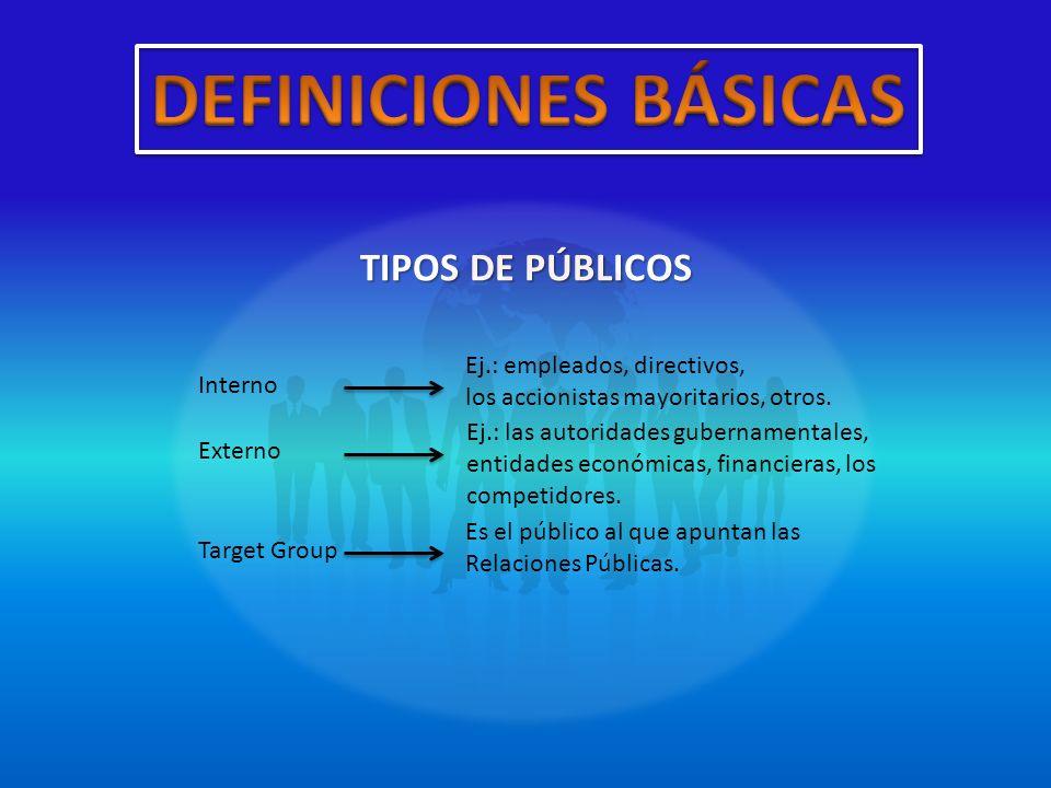 DEFINICIONES BÁSICAS TIPOS DE PÚBLICOS Ej.: empleados, directivos,