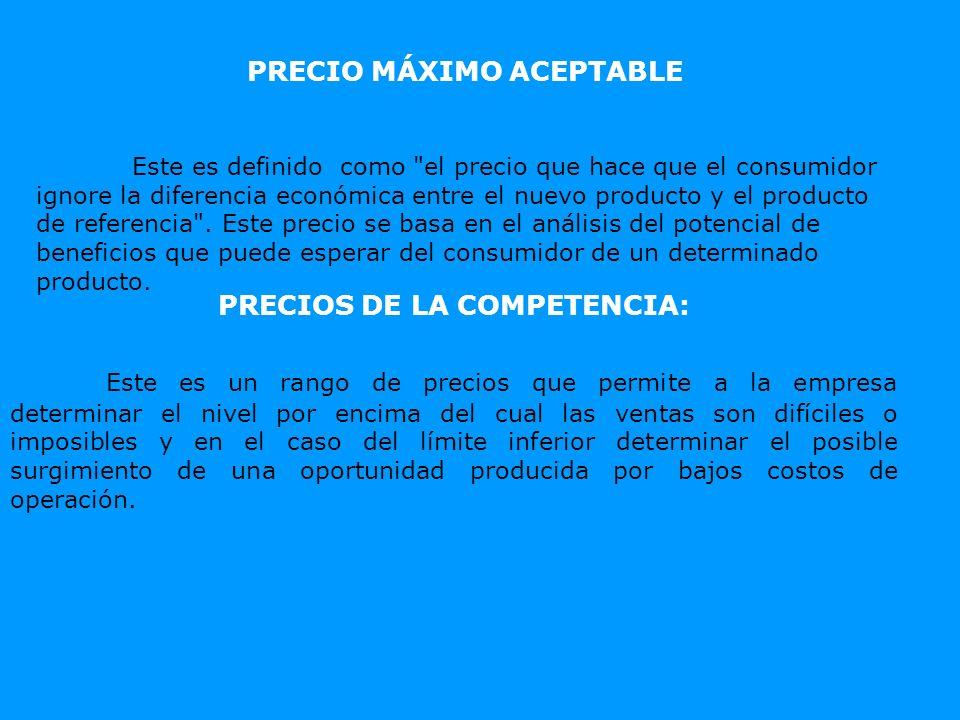 PRECIO MÁXIMO ACEPTABLE PRECIOS DE LA COMPETENCIA: