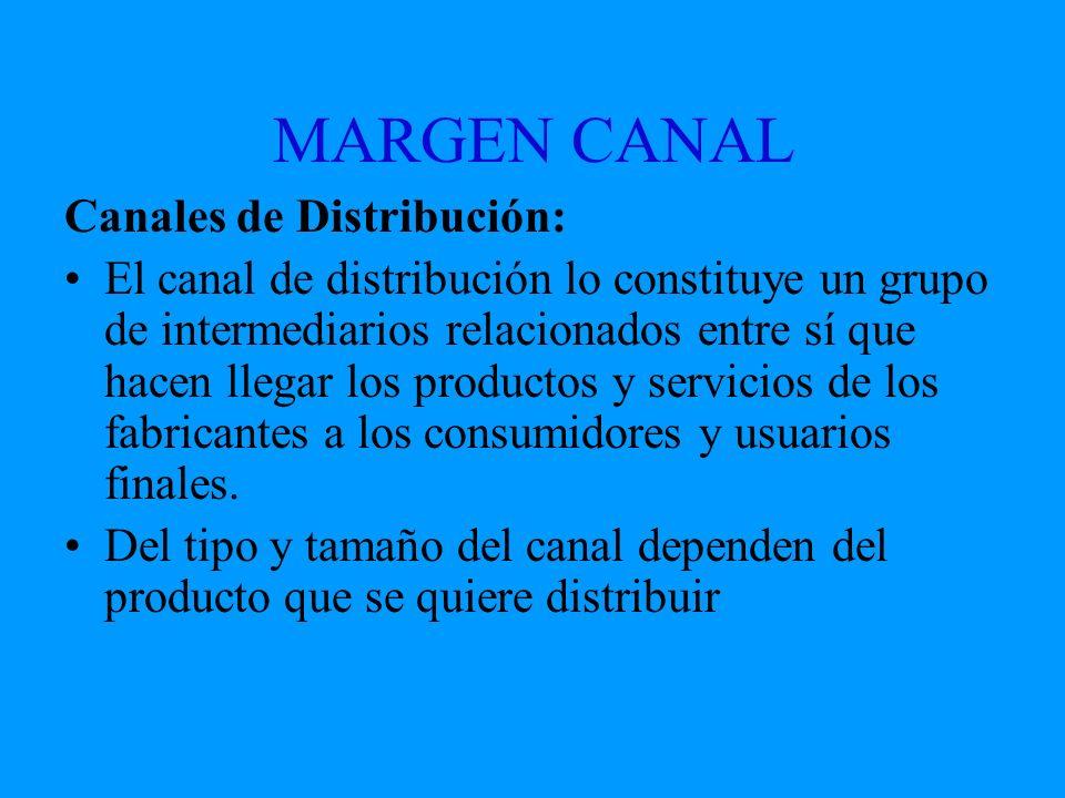 MARGEN CANAL Canales de Distribución: