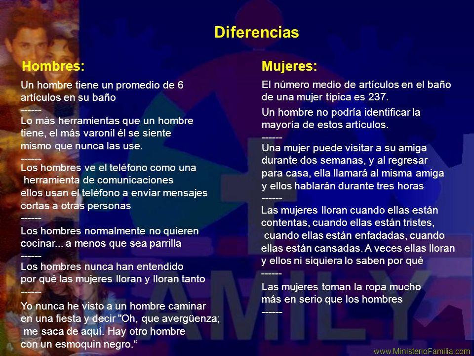 Diferencias Hombres: Mujeres: